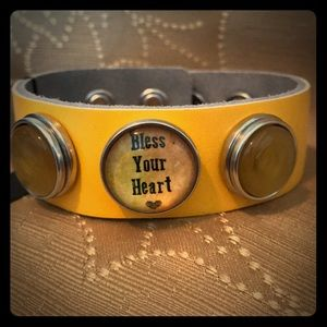 Jewelry - Yellow leather 3 snap bracelet- Bless your heart
